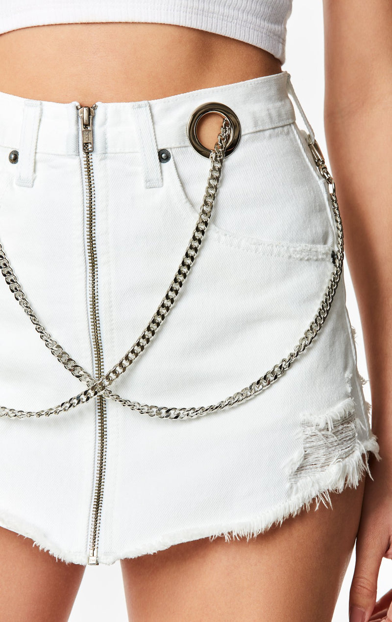 CARMAR DENIM WHITE BEATRICE ZIP FRONT CHAIN SKIRT DETAIL
