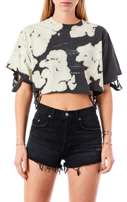VINTAGE RIPPED BLEACH CROP T-SHIRT
