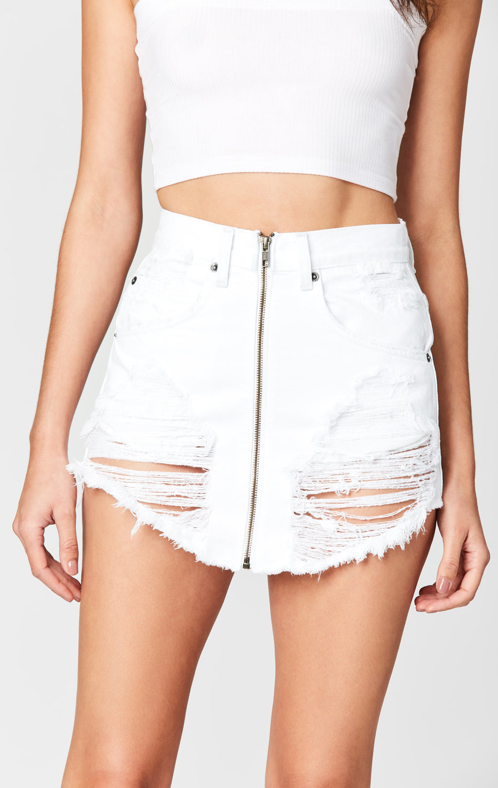 CARMAR DENIM WHITE BEATRICE ZIP FRONT SKIRT DETAIL