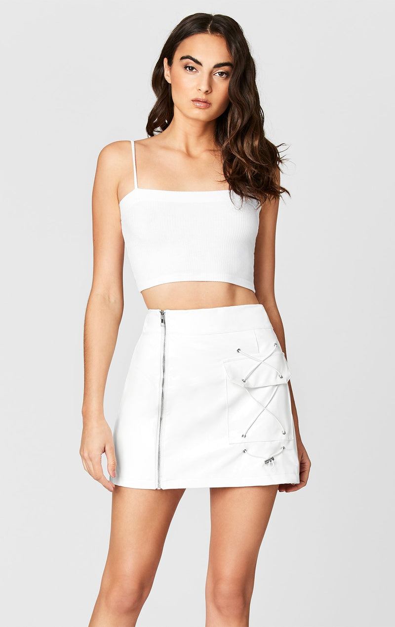 MAGS & PYE VINYL SIDE ZIP CARGO SKIRT CROP FRONT