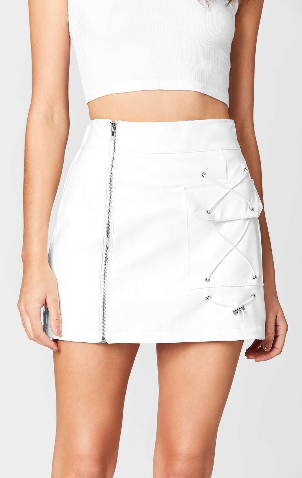 MAGS & PYE VINYL SIDE ZIP CARGO SKIRT DETAIL FRONT