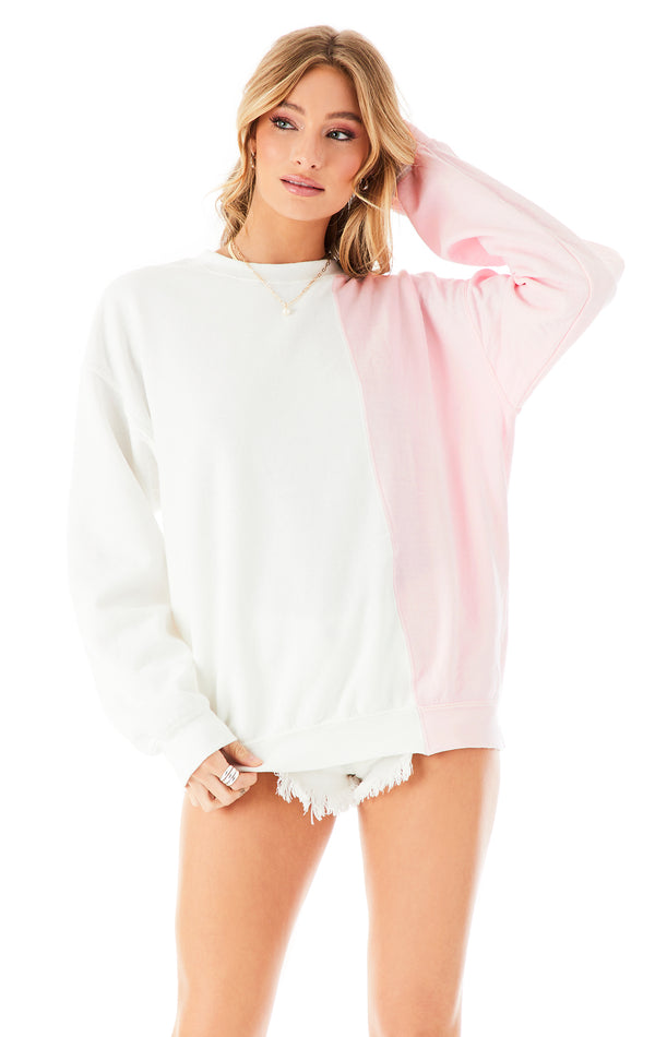 COLOR BLOCK PULLOVER PINK