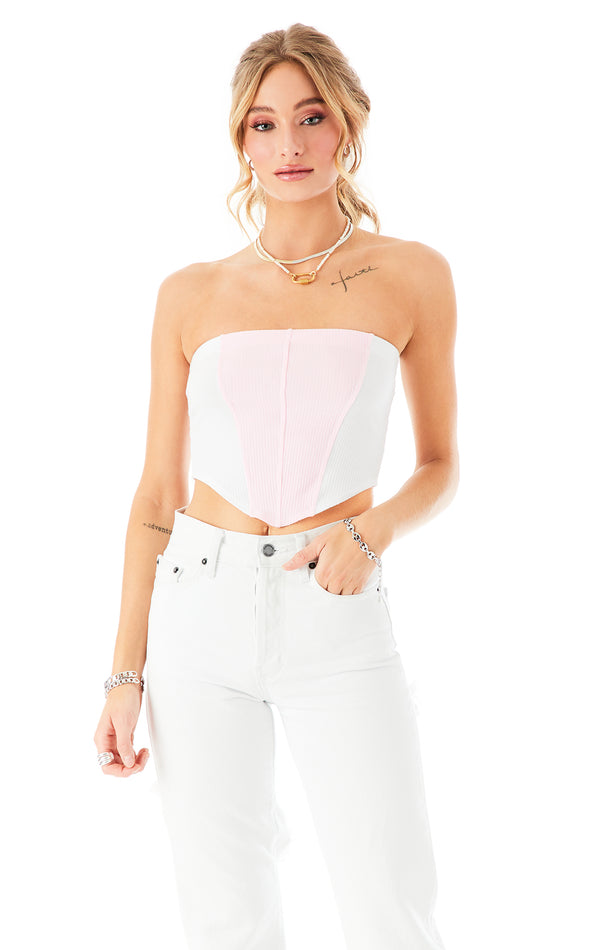 FITTED COLOR BLOCK HANDKERCHIEF TUBE TOP PNK/WHT