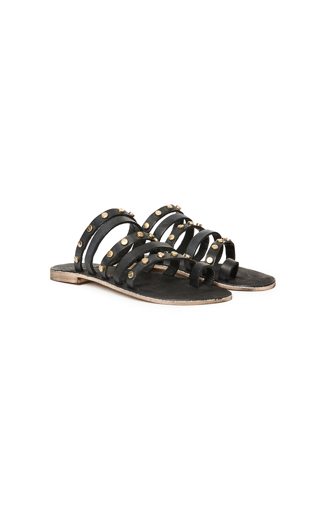 VINTAGE 7 STRAPPY SANDALS WITH GOLD STUDS