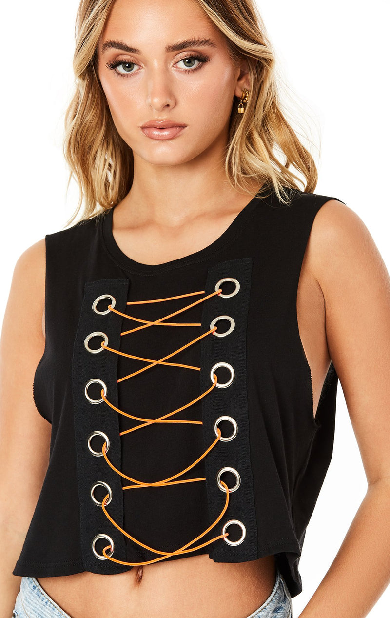 Emma & Sam: BUNGEE LACE UP SLEEVELESS TEE - NOVELTY TEE