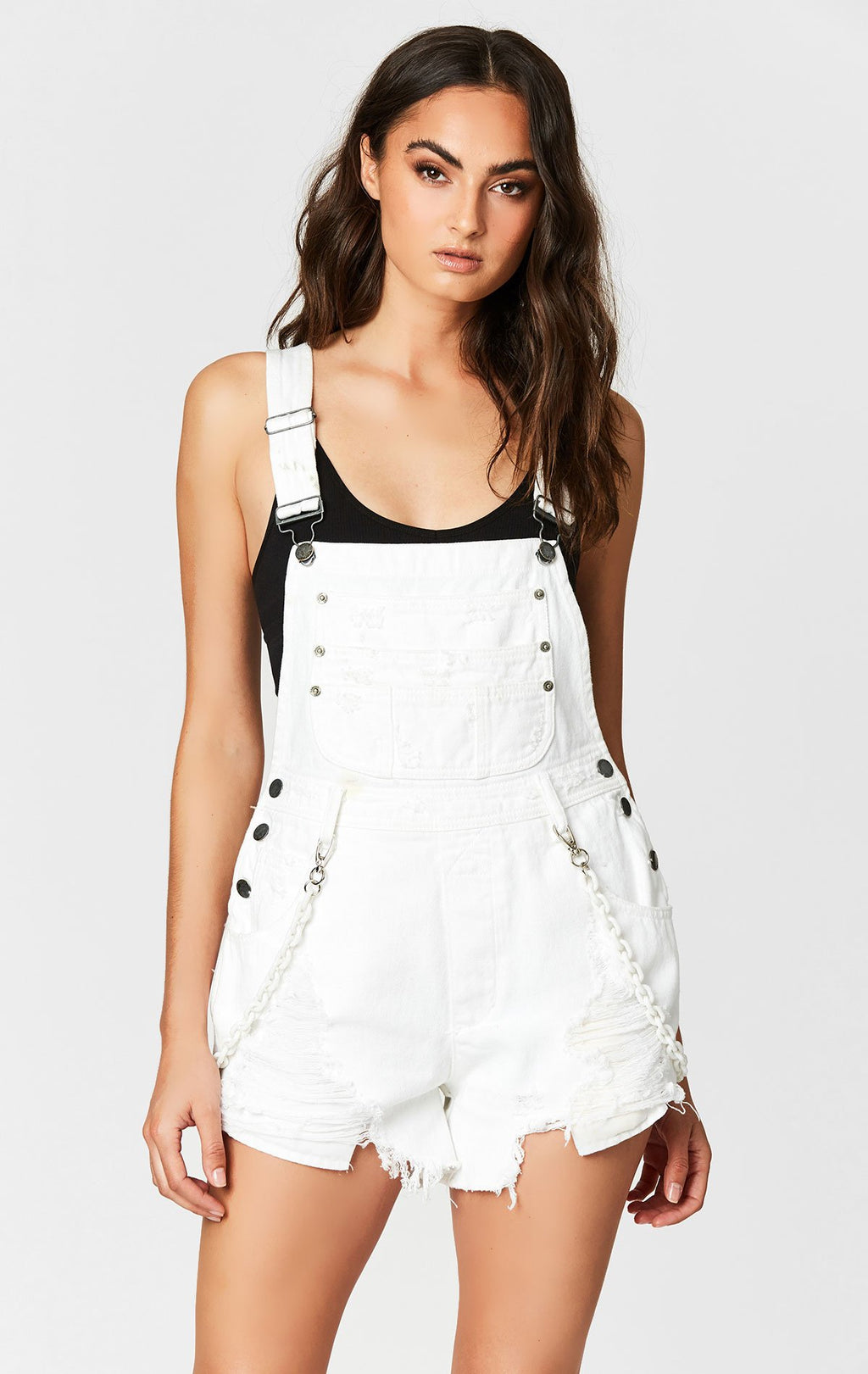 CARMAR DENIM WHITE SHORTALL WITH PLASTIC CHAIN FRONT