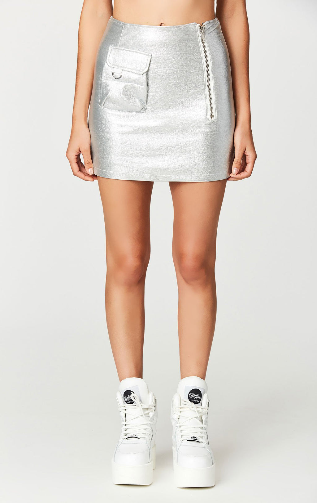 CARMAR METALLIC SILVER CARGO POCKET SKIRT FRONT