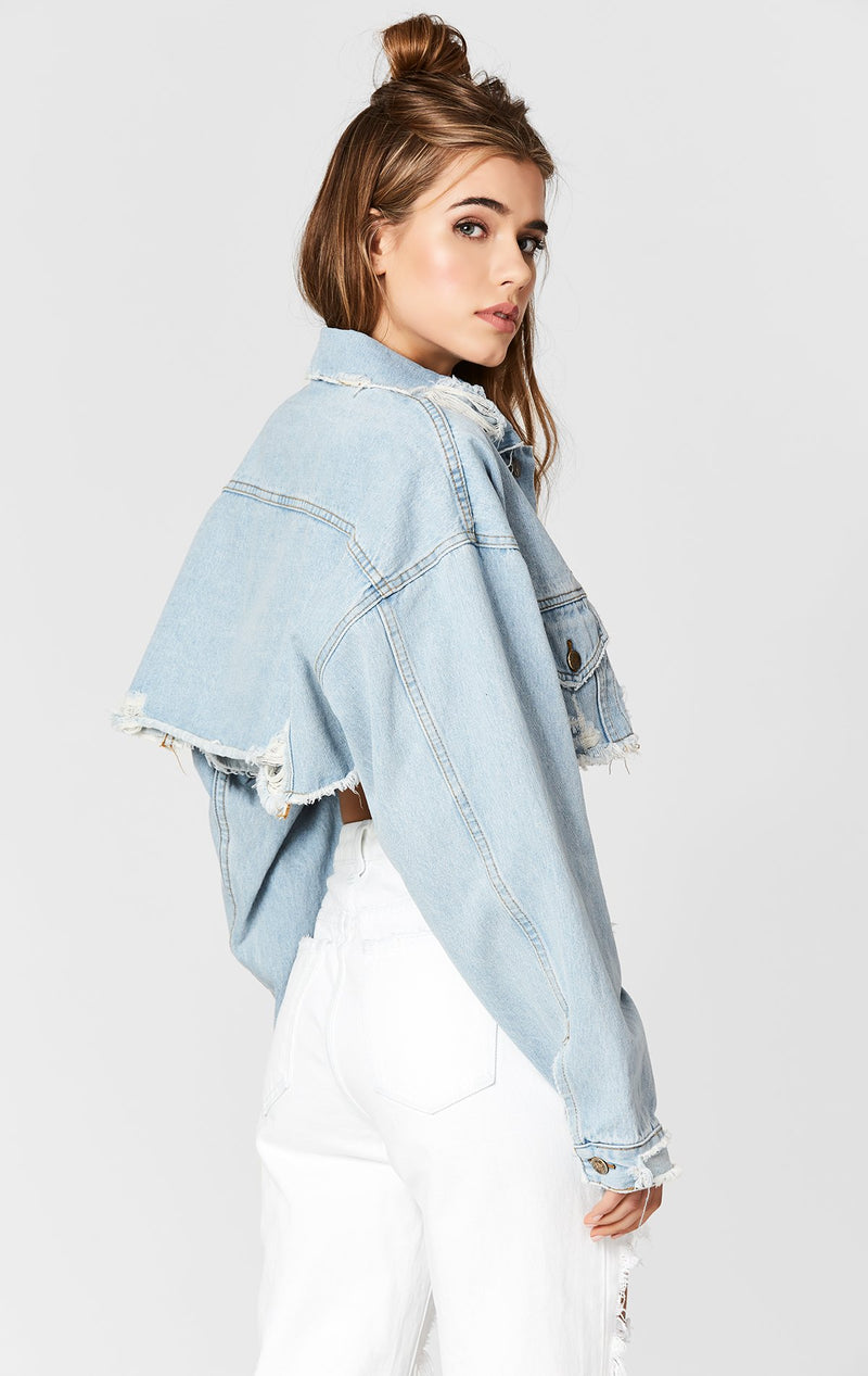 CODY NICHOLAS OVERSIZE CROPPED DENIM JACKET