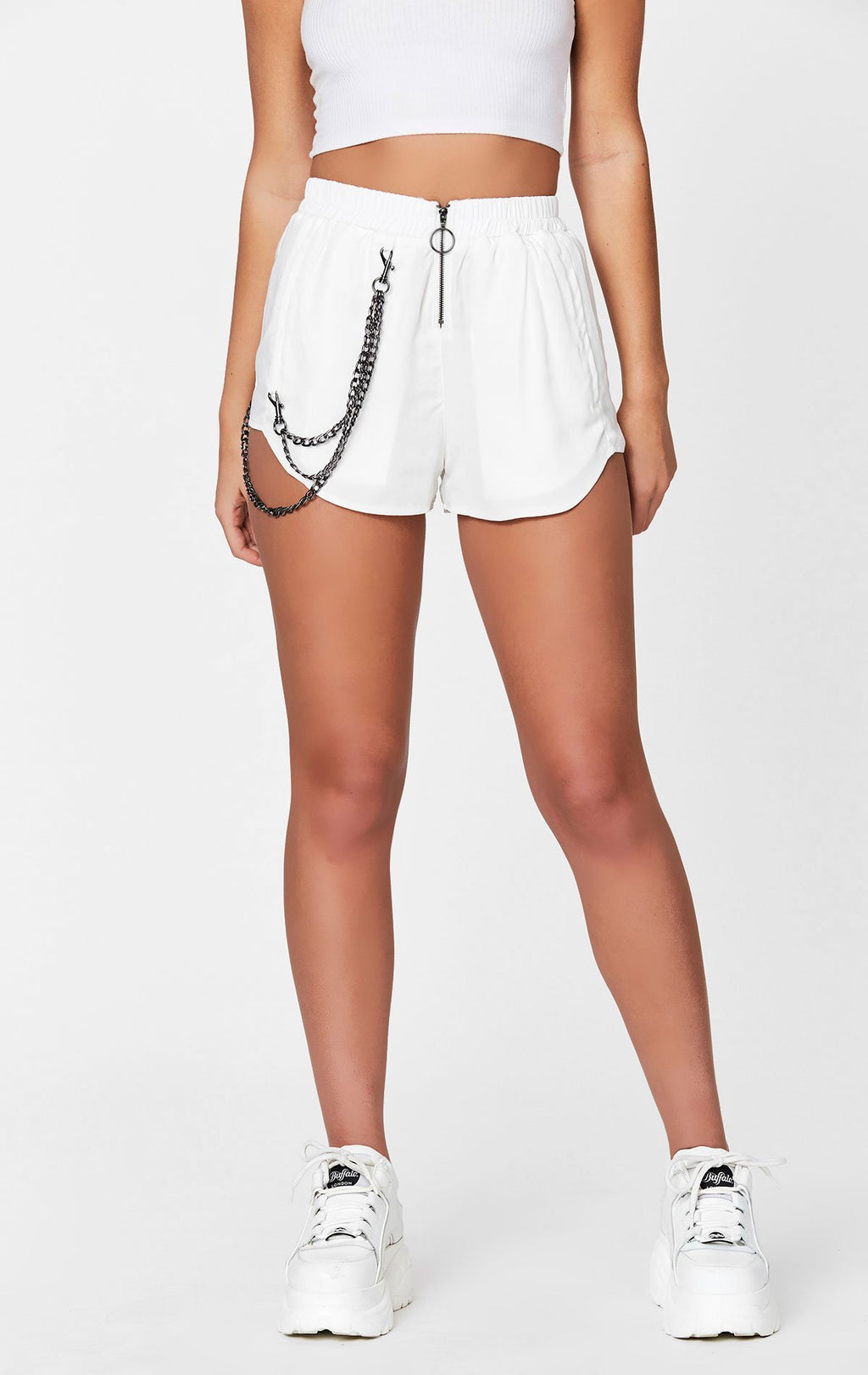 MAGS & PYE ZIP FRONT BOXER SHORT WITH CHAIN DETAIL FRONT