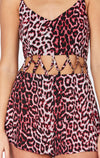MILLAU LEOPARD PRINT LATTICE ROMPER DETAIL
