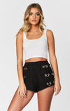 MILLAU SIDE LOOP GROMMET LINEN SHORT CROP FRONT