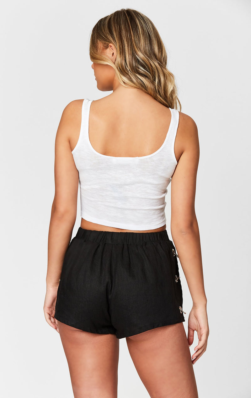 MILLAU SIDE LOOP GROMMET LINEN SHORT BACK