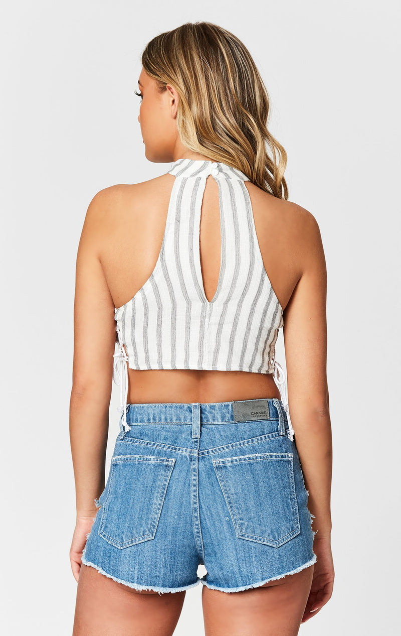 MILLAU HIGH NECK LACE UP TOP BACK