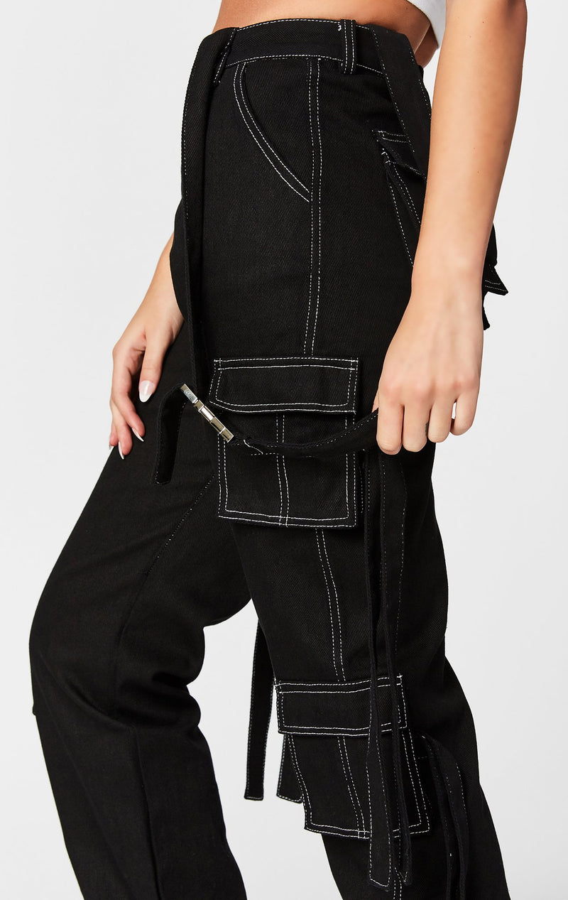 CARMAR DENIM CONTRAST CARGO PANT WITH BUCKLE HARNESS STRAP CLOSE UP SIDE