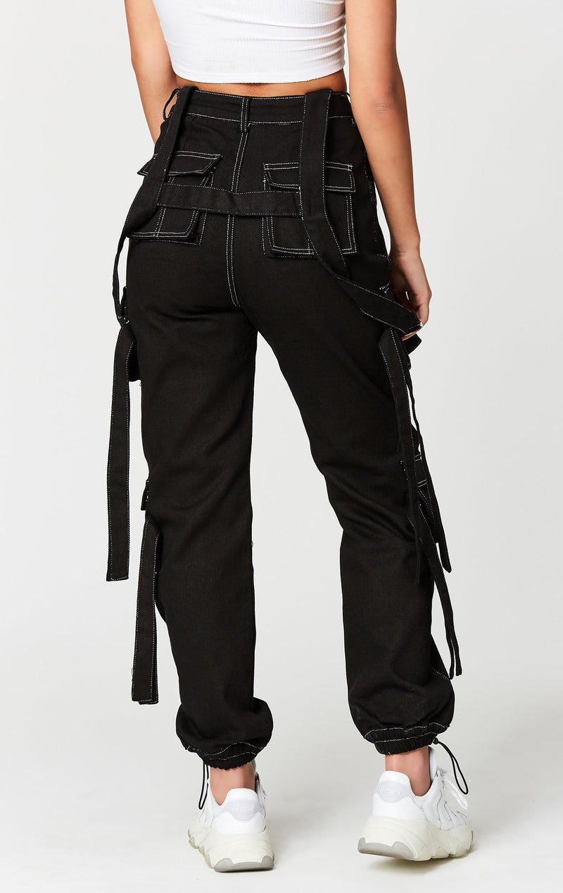 CARMAR DENIM CONTRAST CARGO PANT WITH BUCKLE HARNESS STRAP BACK