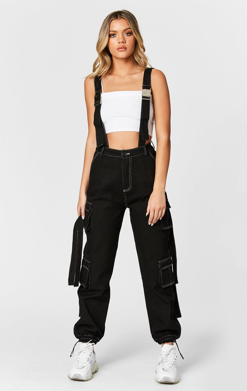 CARMAR DENIM CONTRAST CARGO PANT WITH BUCKLE HARNESS STRAP FULL BODY