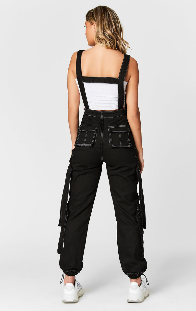 CARMAR DENIM CONTRAST CARGO PANT WITH BUCKLE HARNESS STRAP FULL BODY BACK