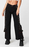 CARMAR DENIM STRAIGHT LEG CARGO POCKET PANT WITH HARNESS STRAP AND CHAINS CROP FRONT