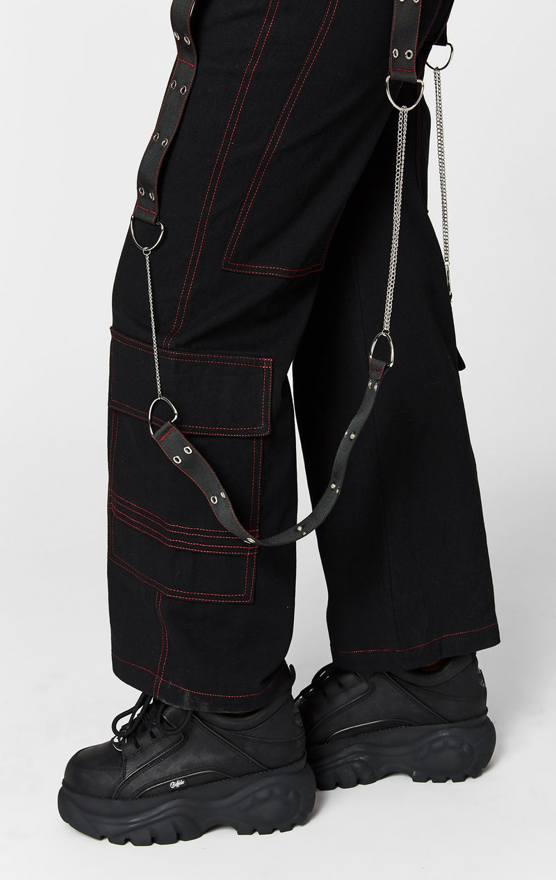 CARMAR DENIM STRAIGHT LEG CARGO POCKET PANT WITH HARNESS STRAP AND CHAINS DETAIL
