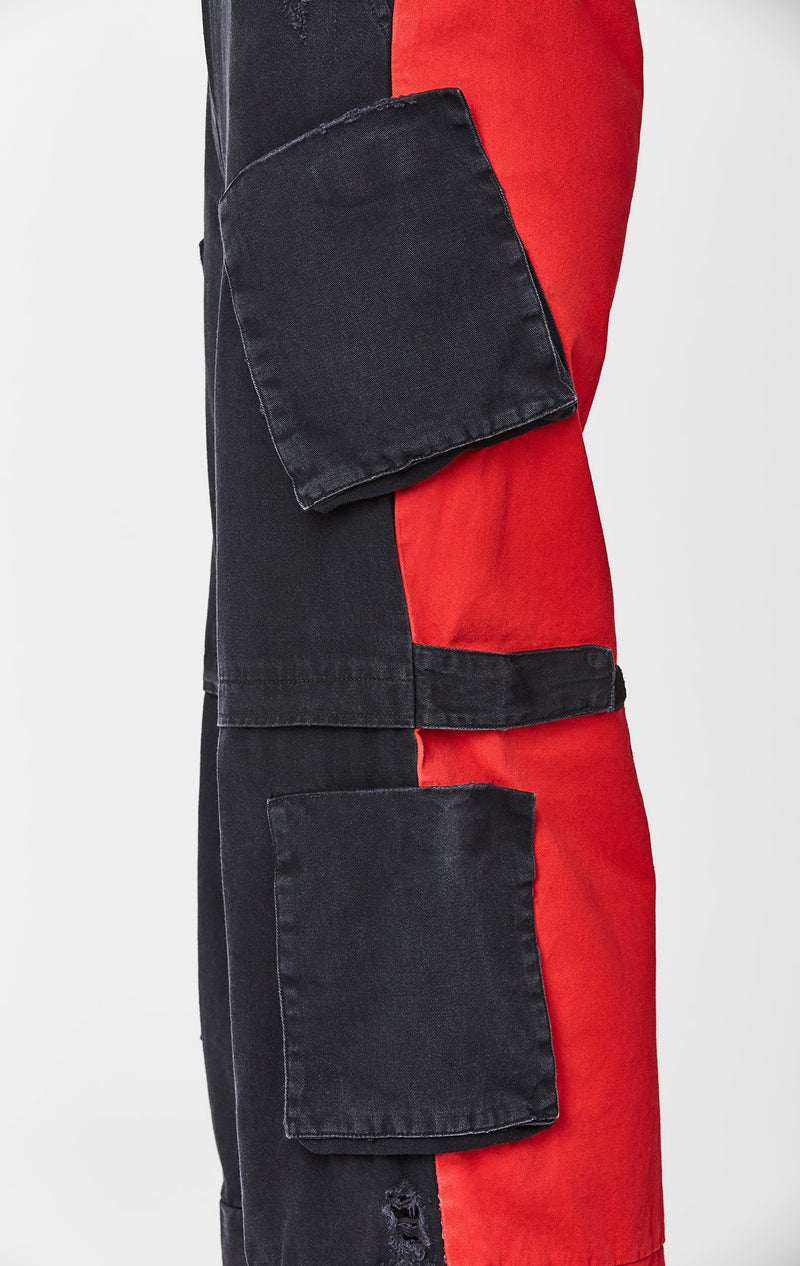 CARMAR DENIM COLORBLOCK WIDE LEG CARGO POCKET PANT SIDE DETAIL