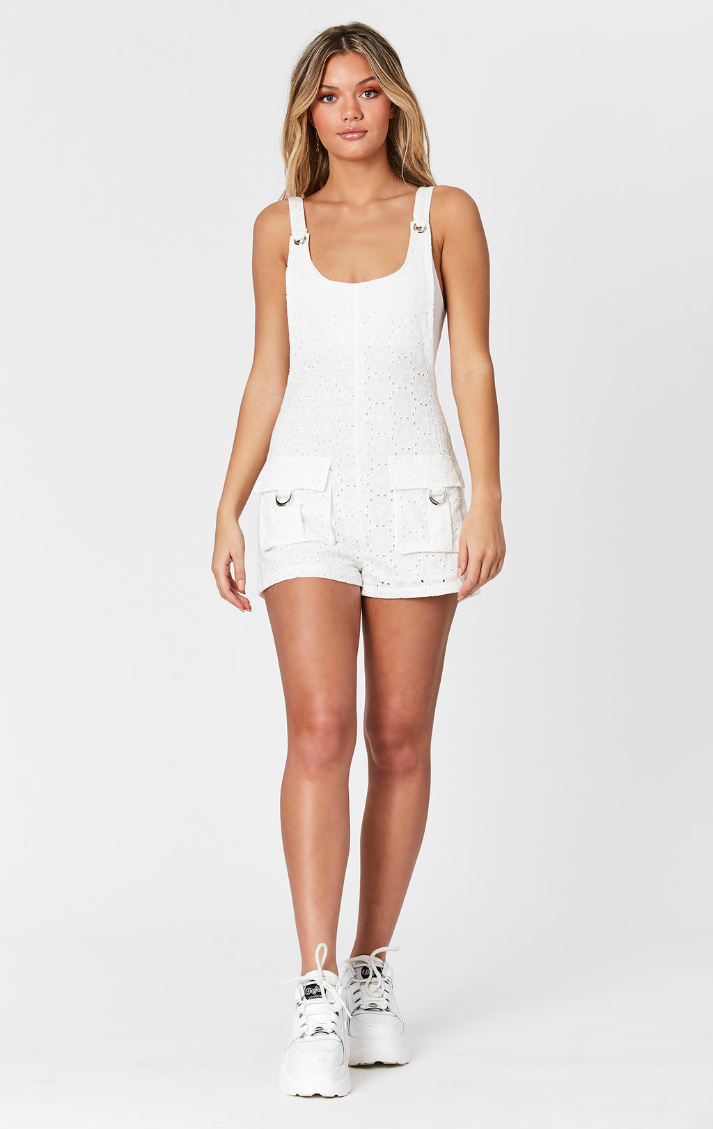 EYELET CARGO POCKET PLAYSUIT
