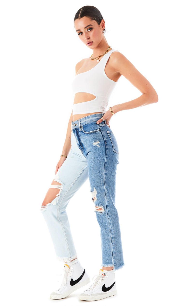 ONE SHOULDER CUT OUT TANK TOP WHITE 2