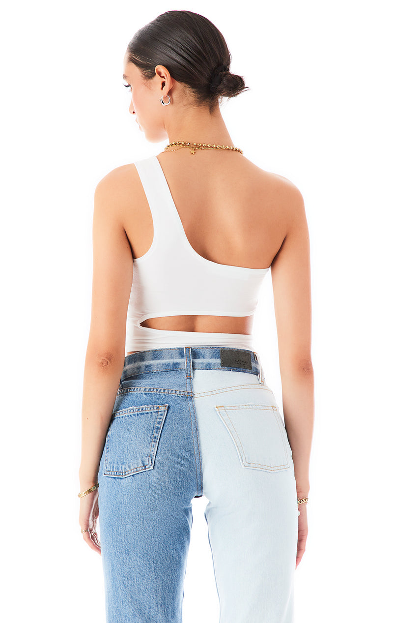 ONE SHOULDER CUT OUT TANK TOP WHITE 3