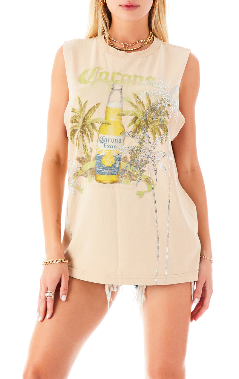 VINTAGE RHINESTONE PALM TREE SLEEVELESS TEE