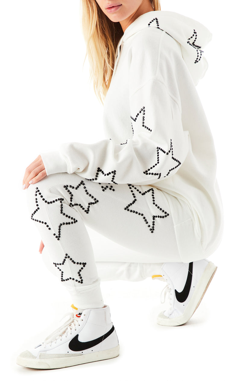 RHINESTONE STAR OUTLINE SWEATPANTS WHITE 10