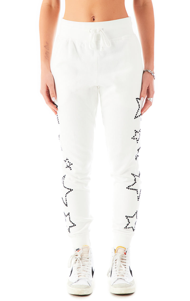 RHINESTONE STAR OUTLINE SWEATPANTS WHITE 3