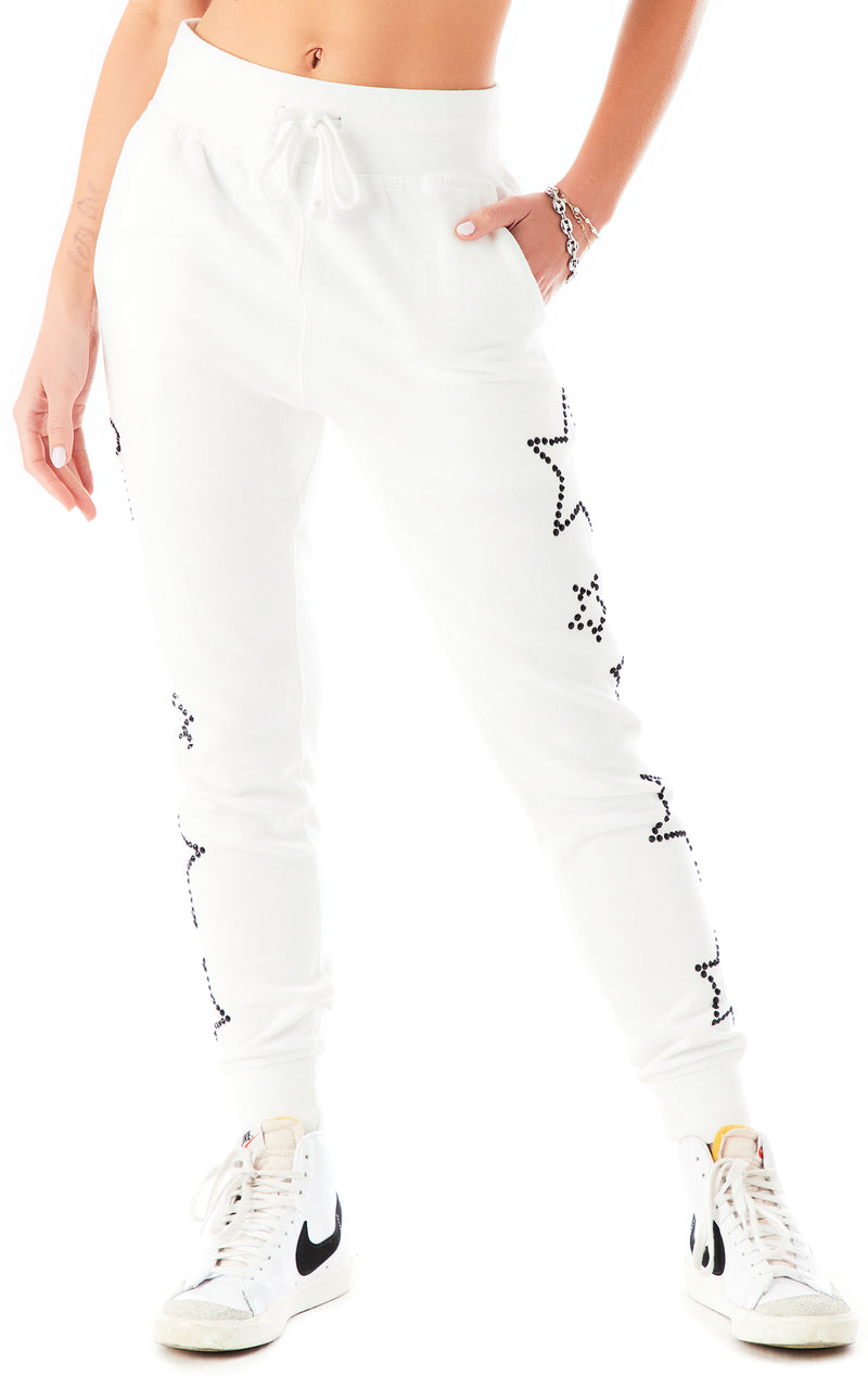 RHINESTONE STAR OUTLINE SWEATPANTS WHITE 4