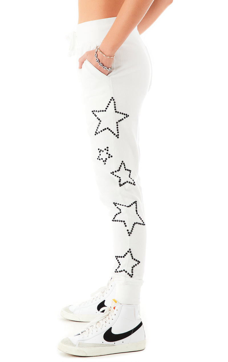 RHINESTONE STAR OUTLINE SWEATPANTS WHITE 5