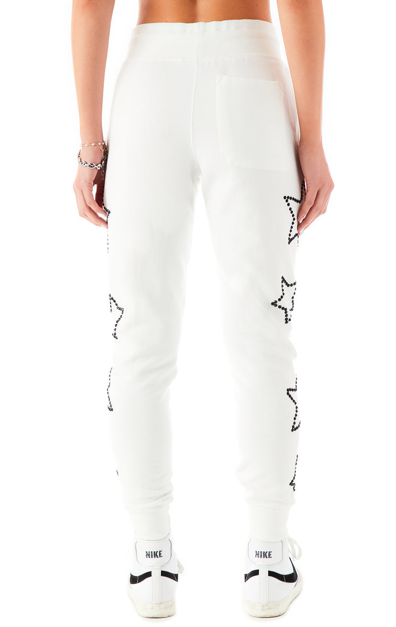 RHINESTONE STAR OUTLINE SWEATPANTS WHITE 6