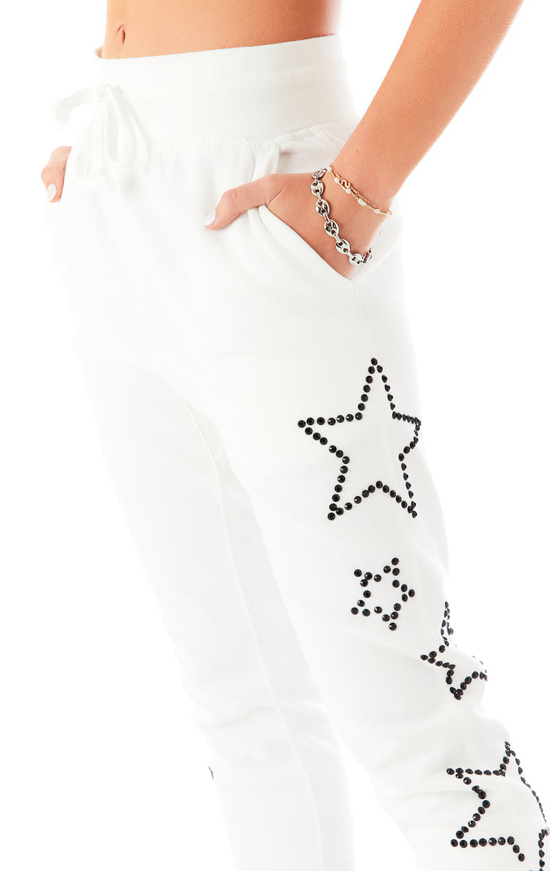 RHINESTONE STAR OUTLINE SWEATPANTS WHITE 7