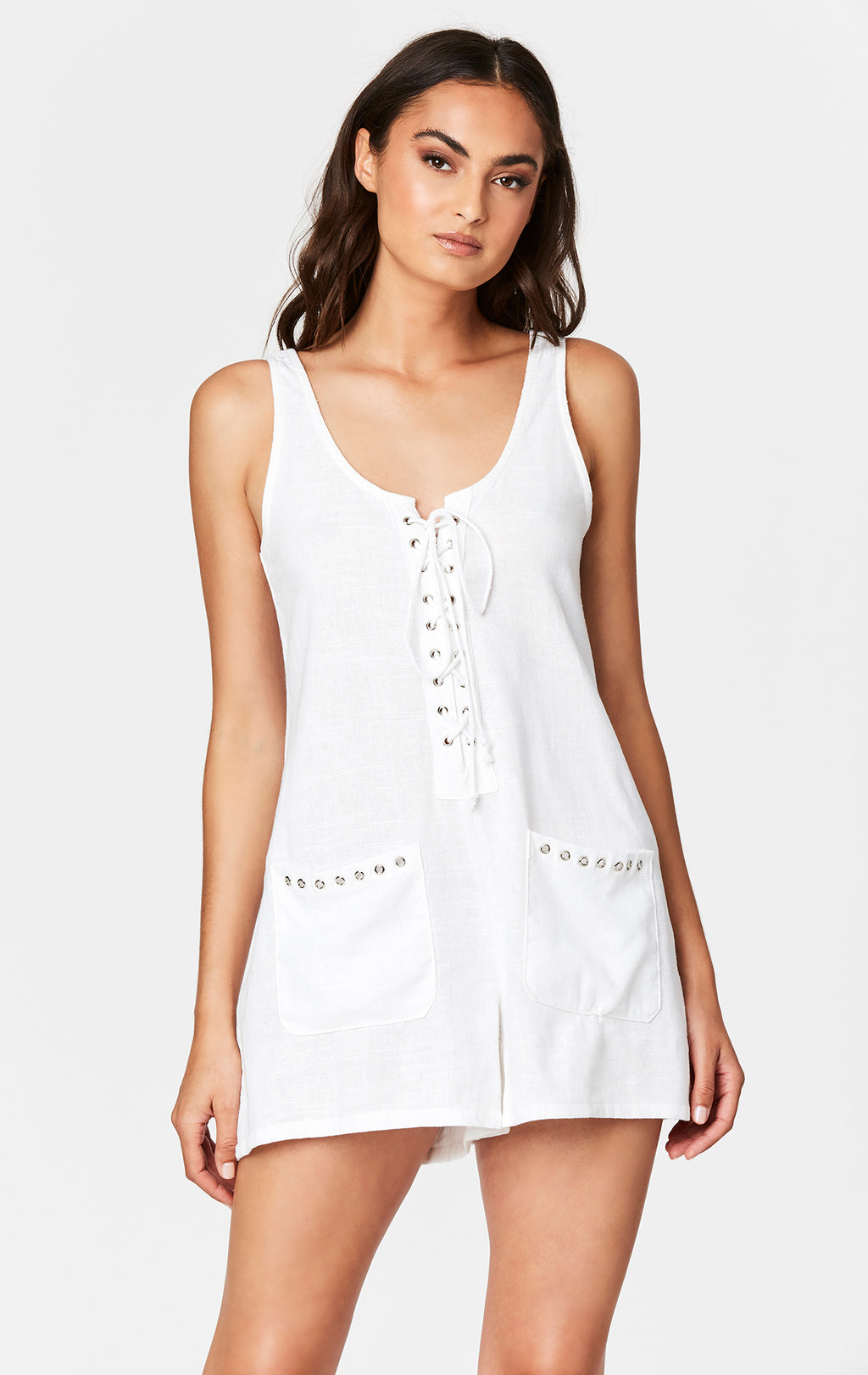 LACE UP LINEN POCKET ROMPER