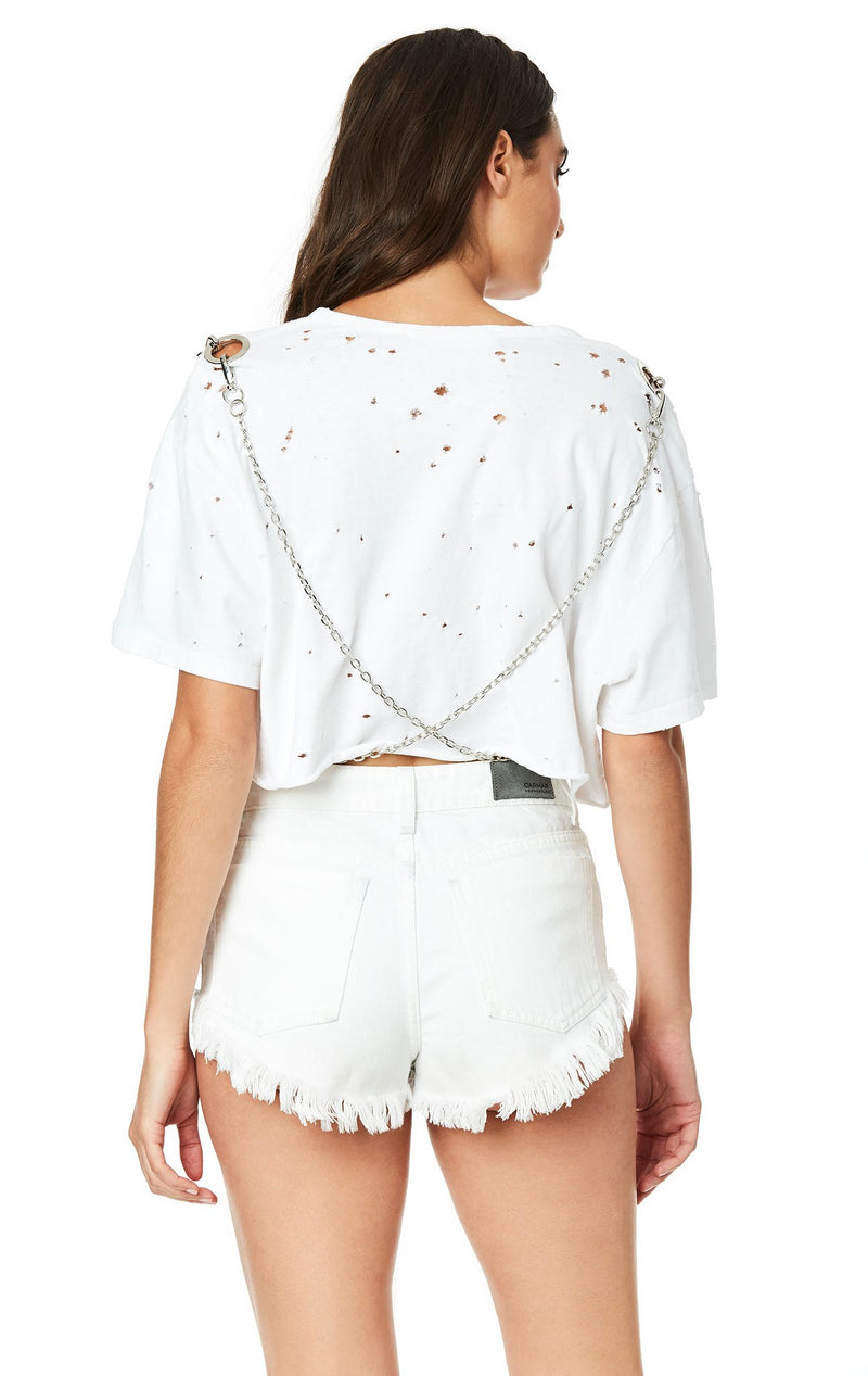 Emma & Sam: CROSSBODY CHAIN CROP TEE - NOVELTY TEE