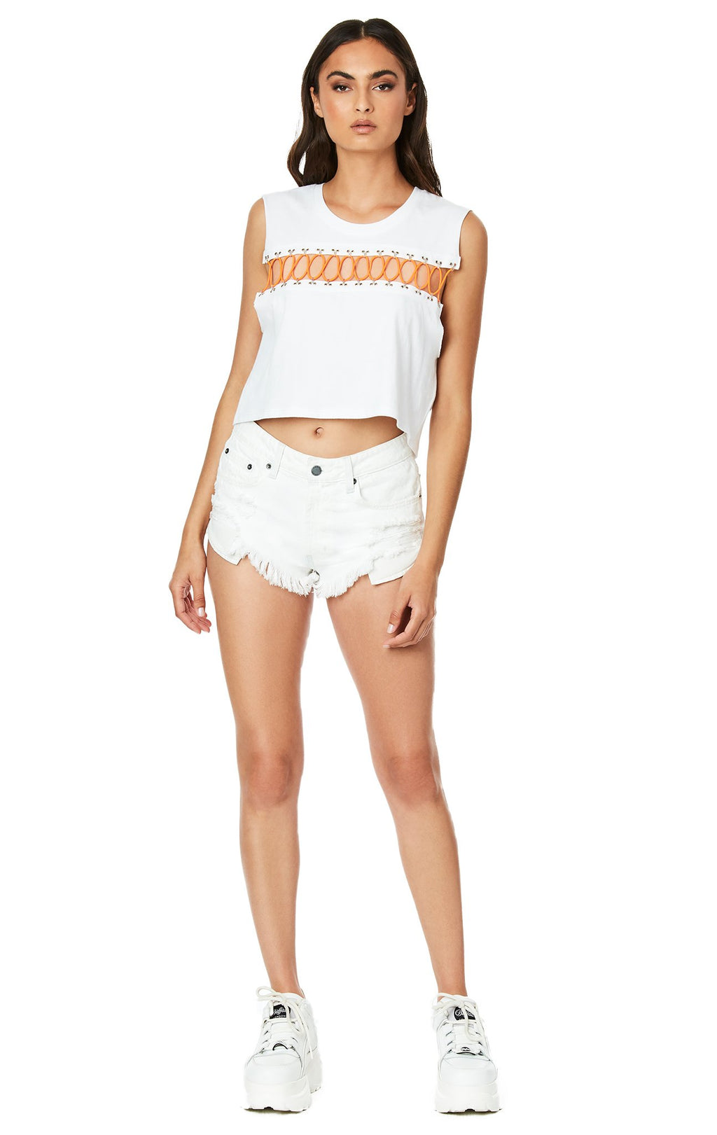 Emma & Sam: CRISS CROSS BUNGEE SLEEVELESS TEE - NOVELTY TEE