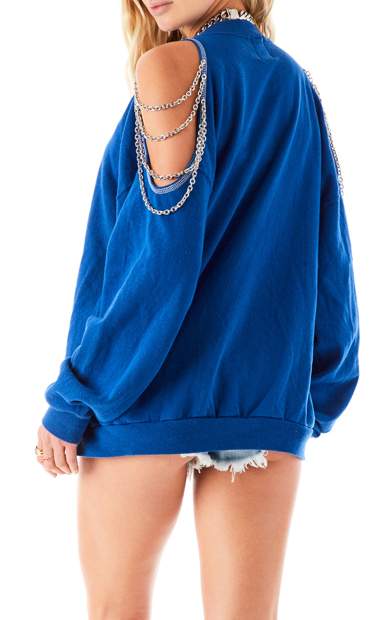 VINTAGE SHOULDER CUT OUT CHAIN SWEATSHIRT