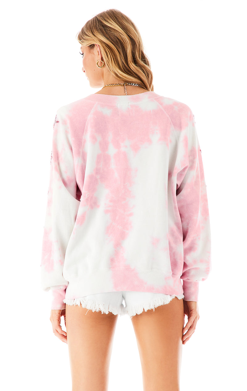 VINTAGE STAR PATCH TIE DYE SWEATSHIRT