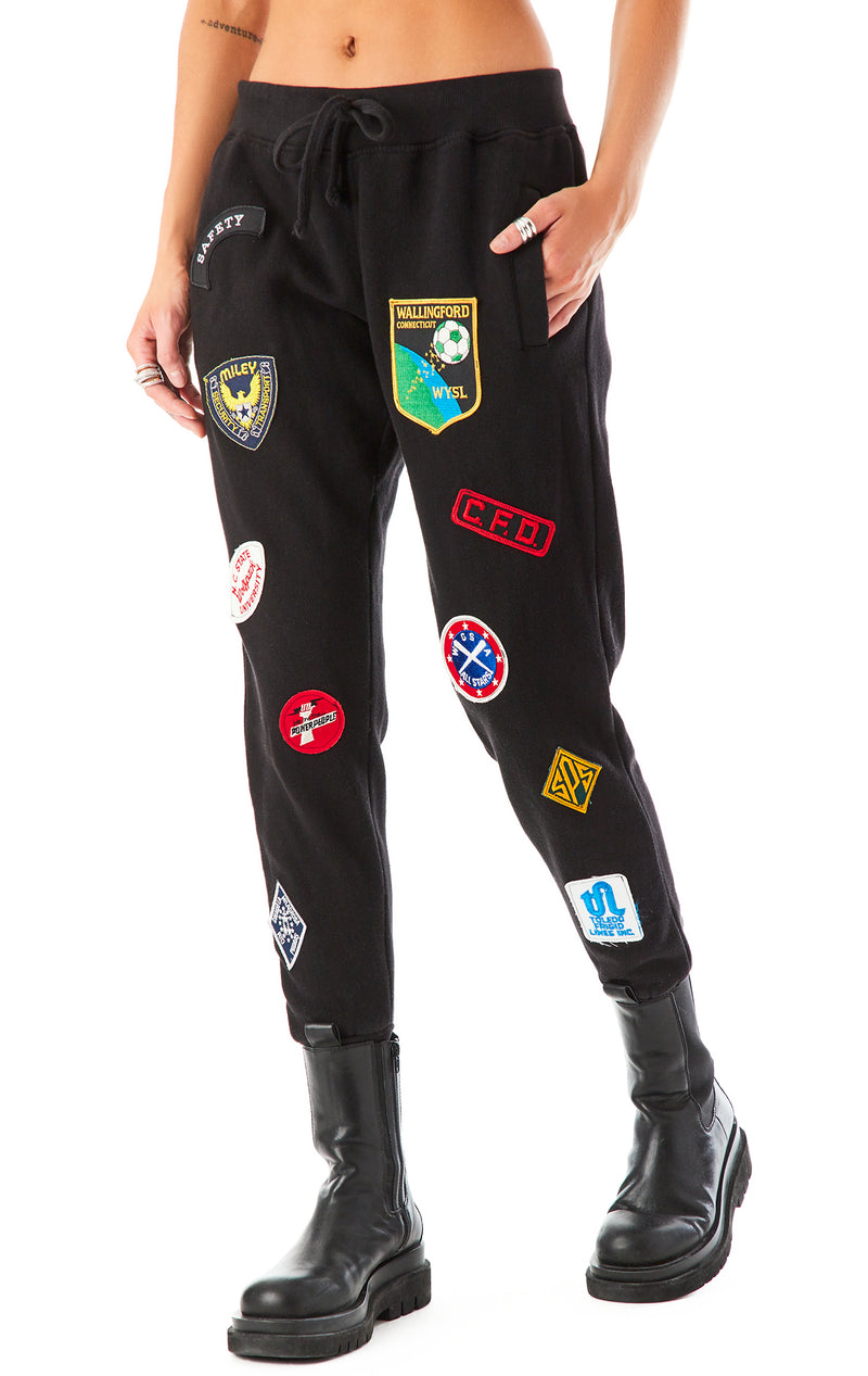 VINTAGE PATCH SWEATPANTS BLACK 1