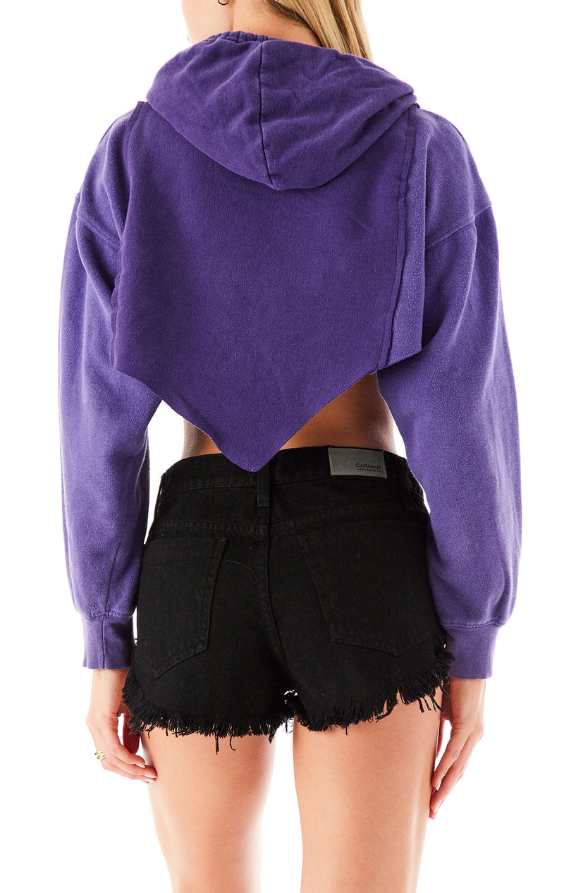 VINTAGE SPLICED V CUT CROPPED HOODIE