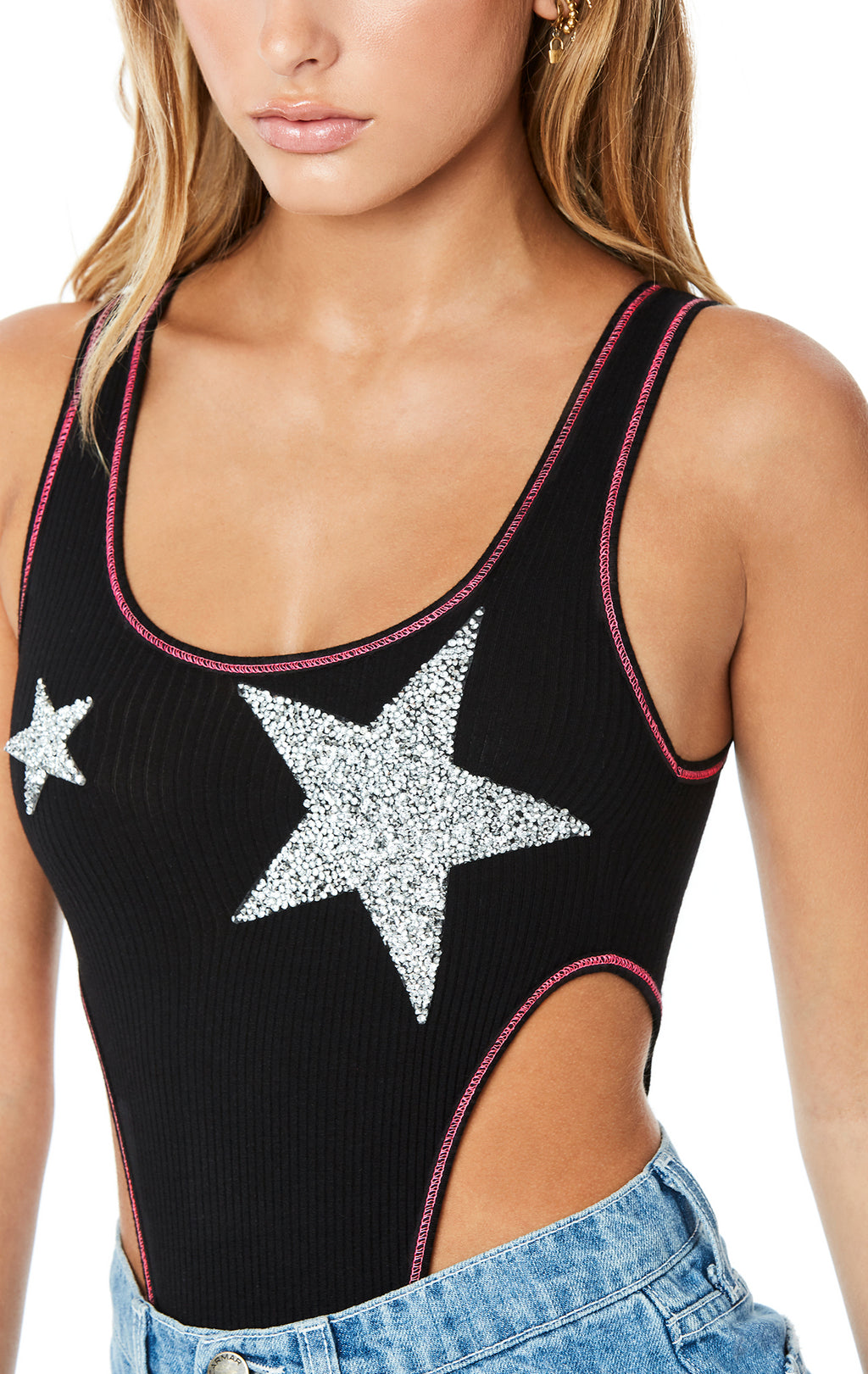 SUPER HIGH CONTRAST STITCH BODYSUIT WITH RHINESTONE STAR PATCH