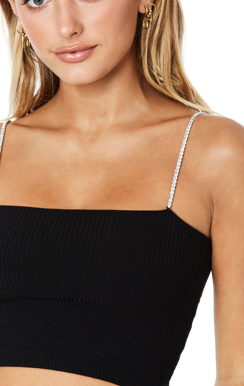 EMMA AND SAM RHINESTONE STRAP TUBE TOP DETAIL