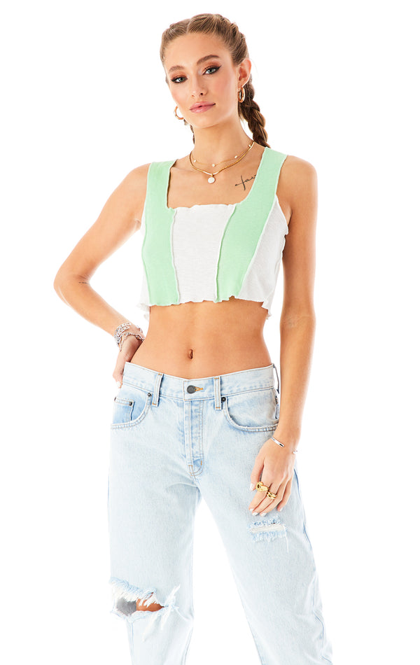 COLOR BLOCK SPLICED TANK TOP WHT/MNT
