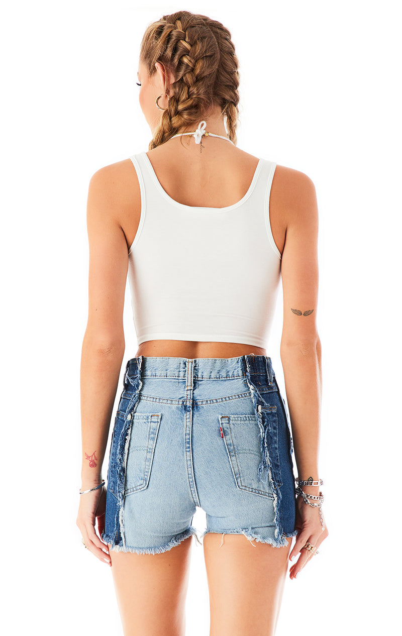 LACE UP HALTER NECK TANK TOP WHITE 4