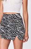 CARMAR DENIM ZEBRA PRINT SKIRT WITH CHAIN DETAIL