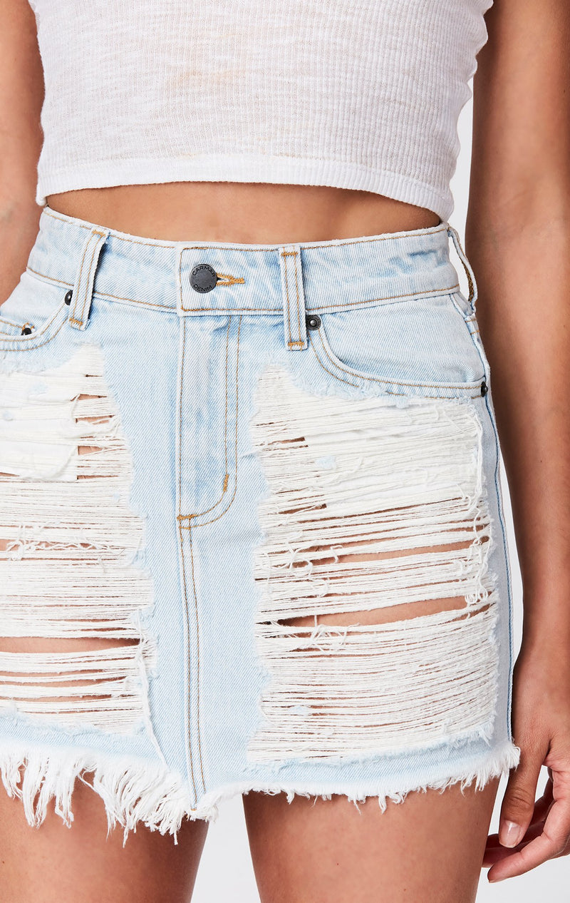 CARMAR DENIM NASH SUPER SHRED COLIN SKIRT DETAIL
