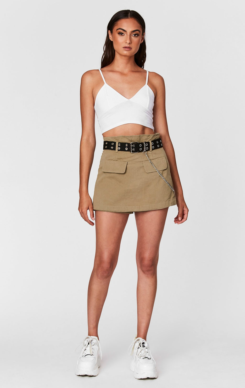 Carmar Denim: BELTED SKIRT WITH DOUBLE POCKETS AND CHAIN - IMPORT SKIRTS