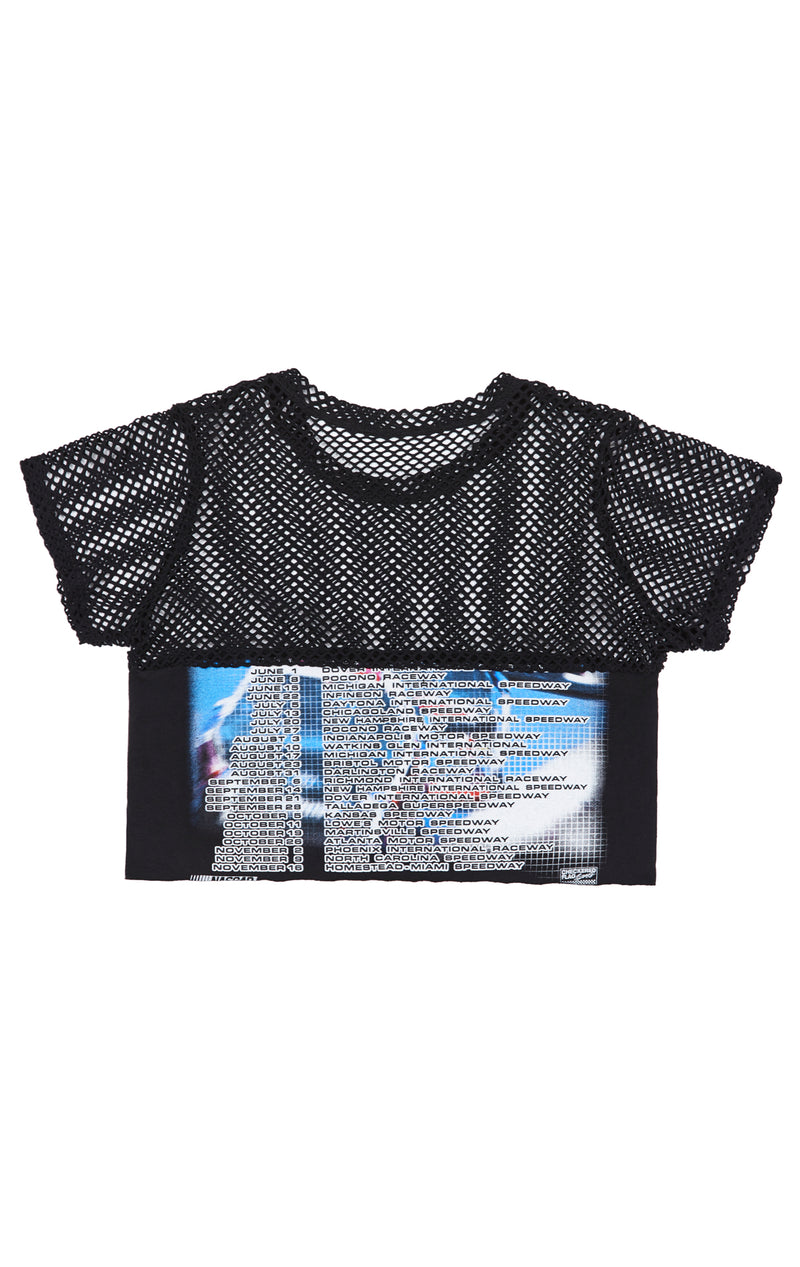 GRAPHIC TEE WITH CONTRAST NETTING TOP