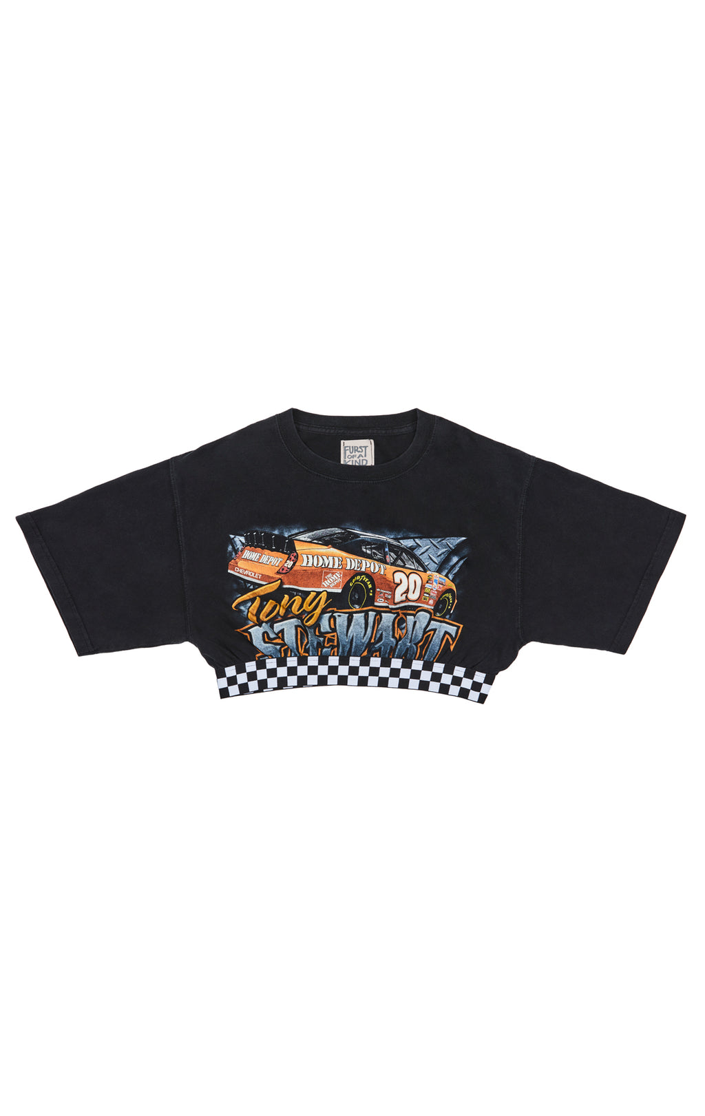 FURST OF A KIND CHECKERED CONTRAST CROP TEE FRONT